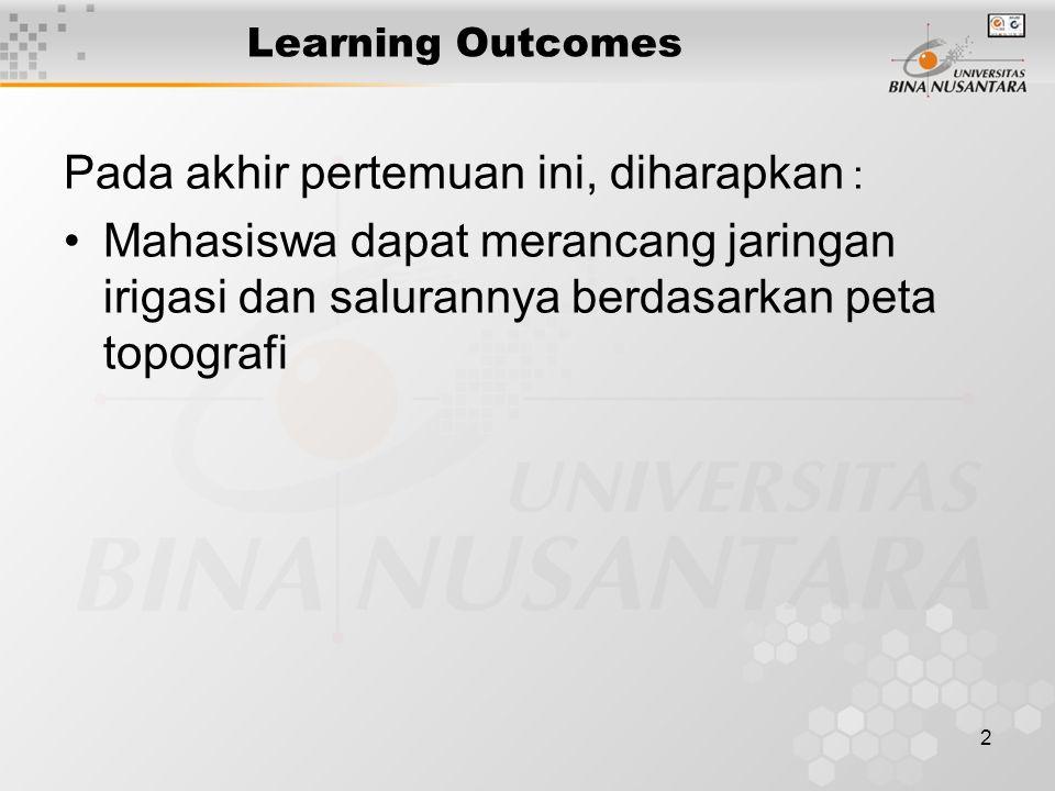 2 Learning Outcomes Pada akhir pertemuan ini, diharapkan : Mahasiswa dapat merancang jaringan irigasi dan salurannya berdasarkan peta topografi
