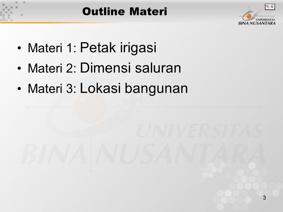 3 Outline Materi Materi 1: Petak irigasi Materi 2: Dimensi saluran Materi 3: Lokasi bangunan