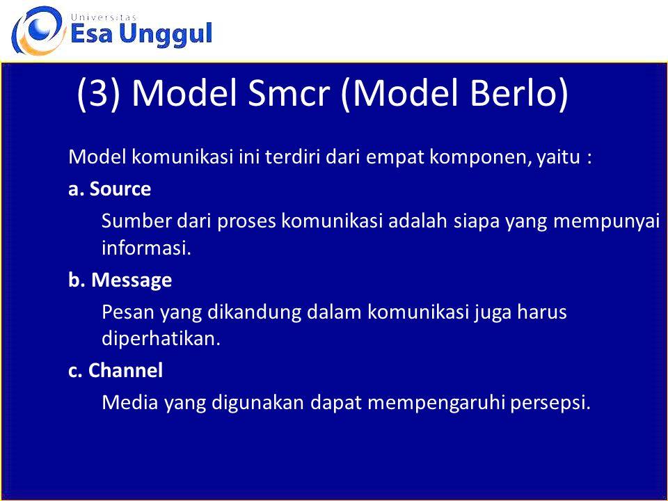 (3) Model Smcr (Model Berlo) Model komunikasi ini terdiri dari empat komponen, yaitu : a. Source Sumber dari proses komunikasi adalah siapa yang mempu