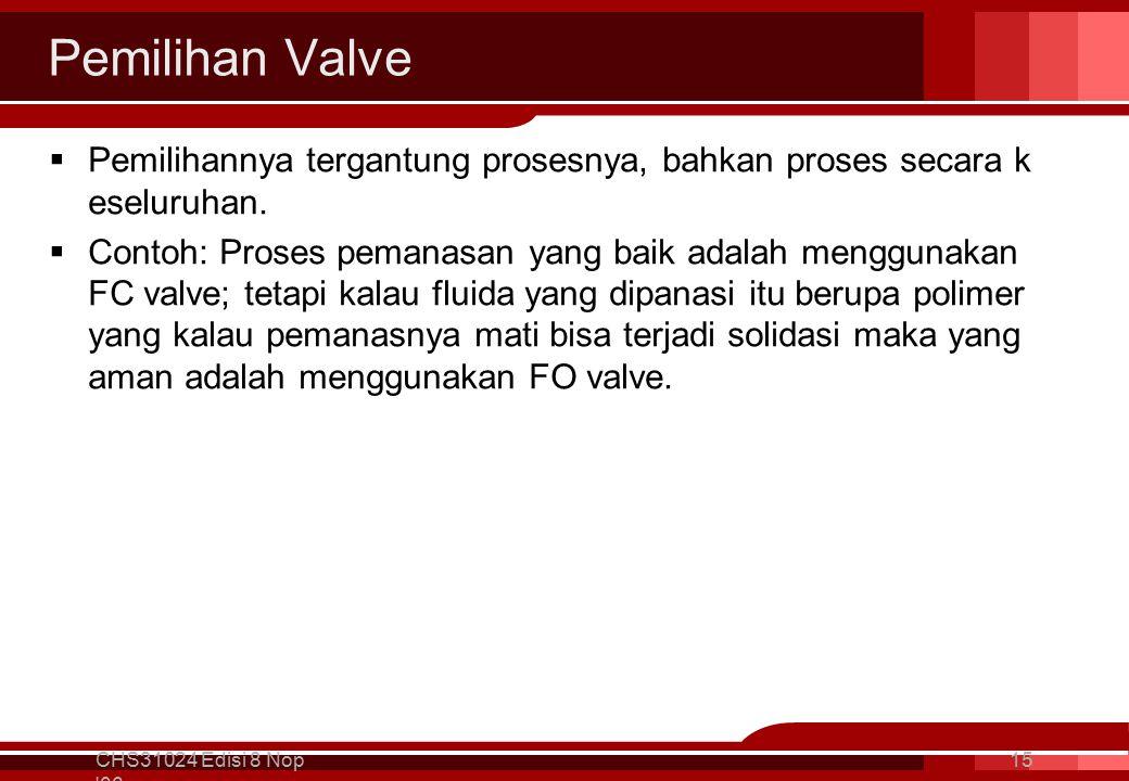 Pemilihan Valve  Pemilihannya tergantung prosesnya, bahkan proses secara k eseluruhan.