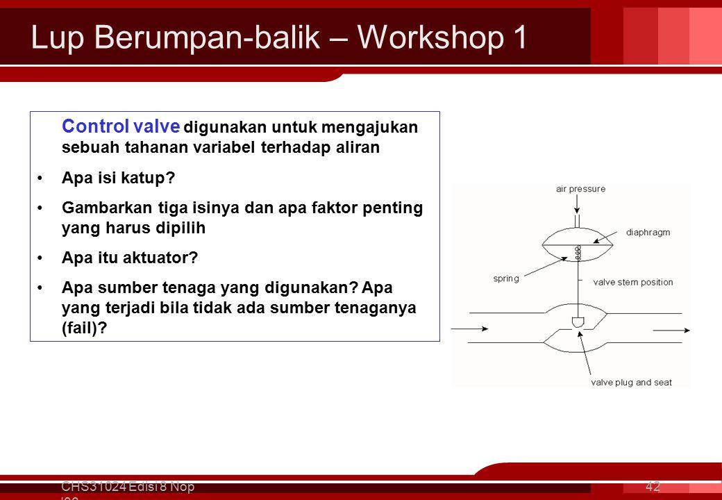 Lup Berumpan-balik – Workshop 1 CHS31024 Edisi 8 Nop 06 42 Control valve digunakan untuk mengajukan sebuah tahanan variabel terhadap aliran Apa isi katup.