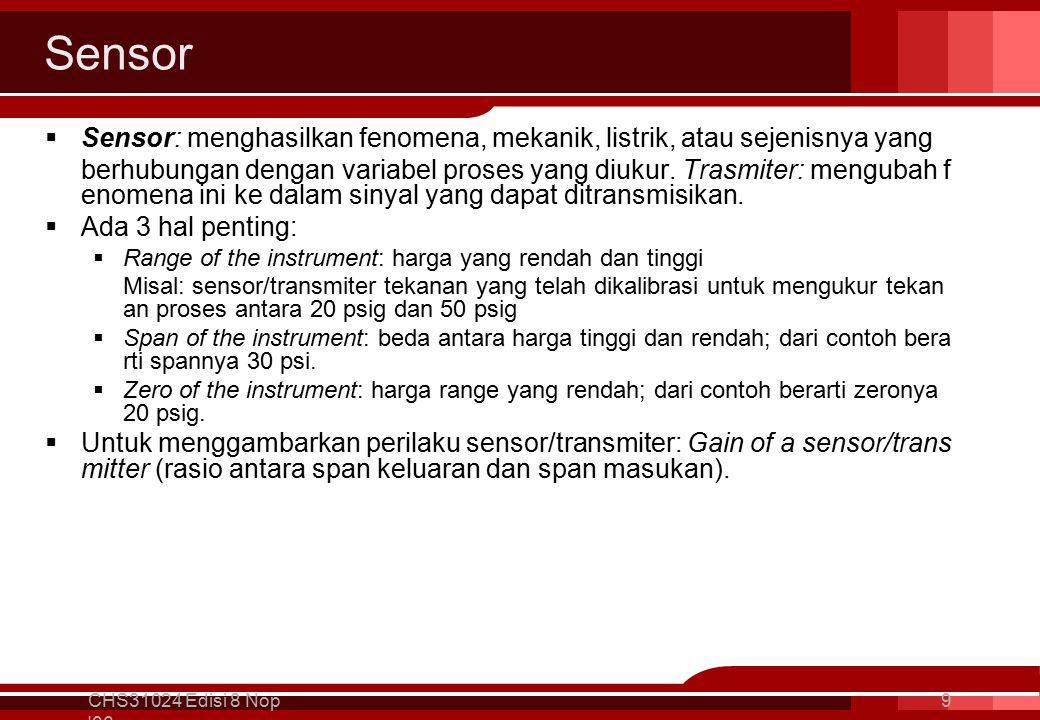 Sensor  Sensor: menghasilkan fenomena, mekanik, listrik, atau sejenisnya yang berhubungan dengan variabel proses yang diukur.
