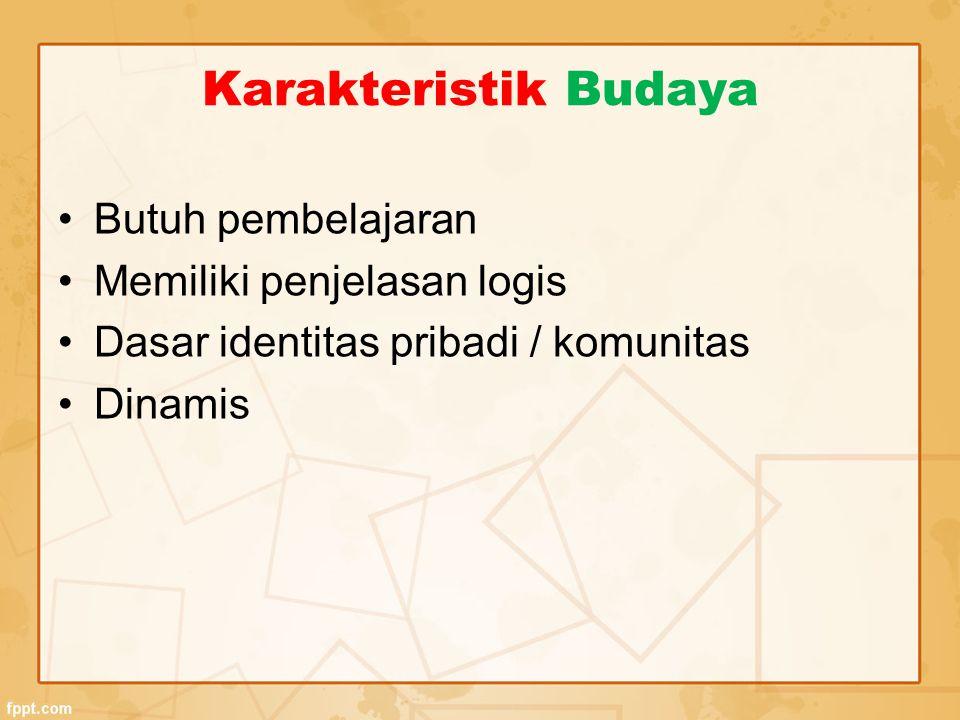 Karakteristik Budaya Butuh pembelajaran Memiliki penjelasan logis Dasar identitas pribadi / komunitas Dinamis