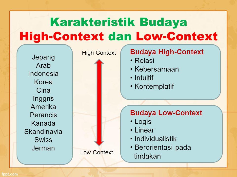 CARA KERJA High-context : kelompok/grup/diskusi Low-context: individualis FORMALITAS High-context: mengedepankan tradisi, tata cara, upacara, dll Low-context : tidak terlalu memprioritaskan tata cara Dimensi Budaya