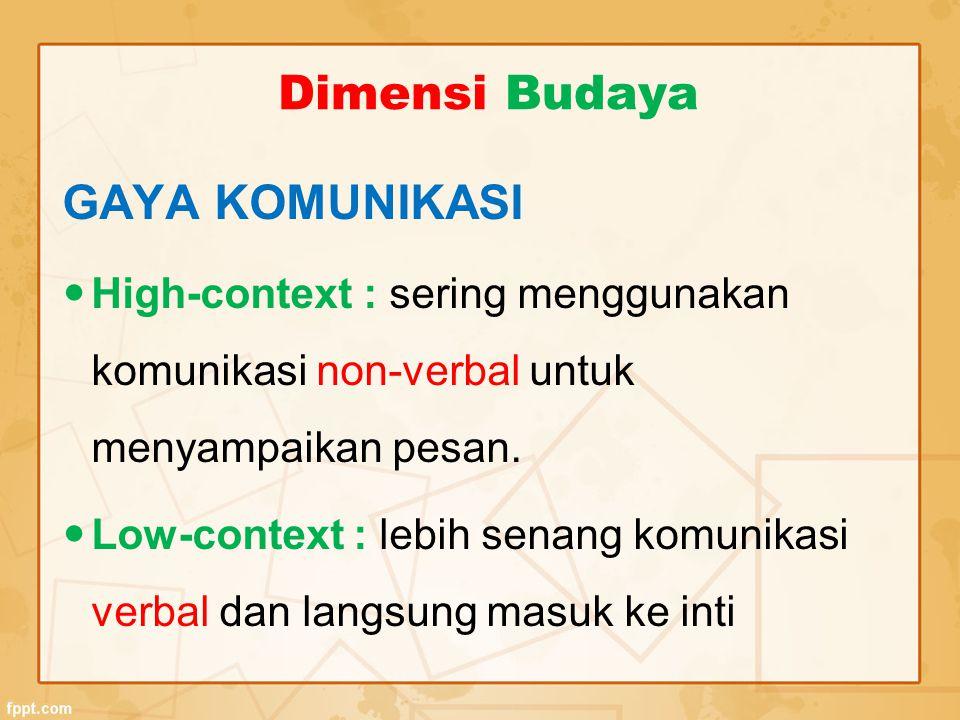 GAYA KOMUNIKASI High-context : sering menggunakan komunikasi non-verbal untuk menyampaikan pesan. Low-context : lebih senang komunikasi verbal dan lan