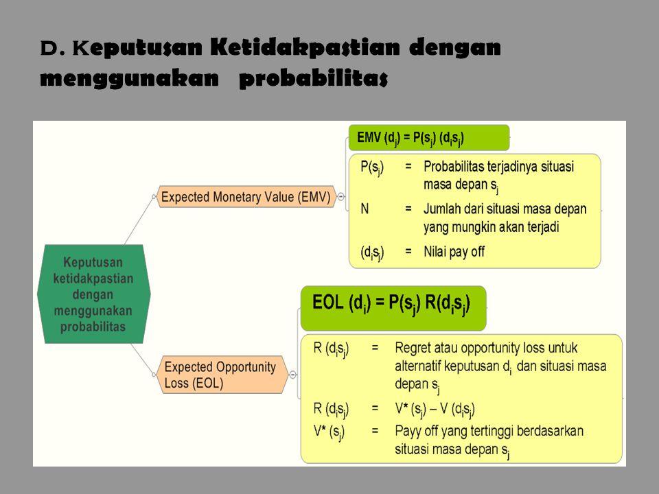 20 d. k eputusan Ketidakpastian dengan menggunakan probabilitas