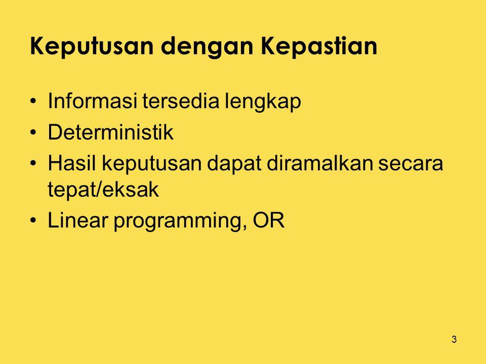 3 Keputusan dengan Kepastian Informasi tersedia lengkap Deterministik Hasil keputusan dapat diramalkan secara tepat/eksak Linear programming, OR