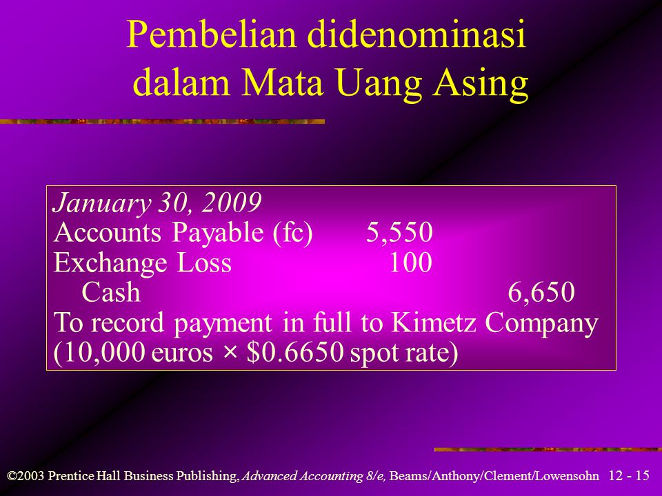 12 - 15 ©2003 Prentice Hall Business Publishing, Advanced Accounting 8/e, Beams/Anthony/Clement/Lowensohn Pembelian didenominasi dalam Mata Uang Asing
