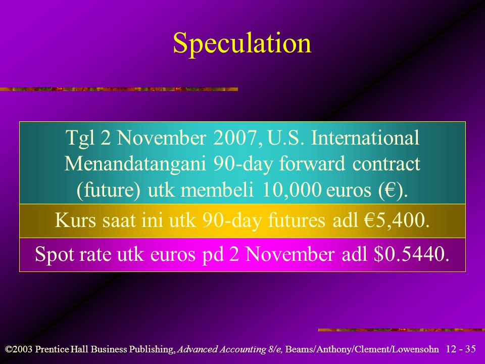 12 - 35 ©2003 Prentice Hall Business Publishing, Advanced Accounting 8/e, Beams/Anthony/Clement/Lowensohn Speculation Tgl 2 November 2007, U.S. Intern