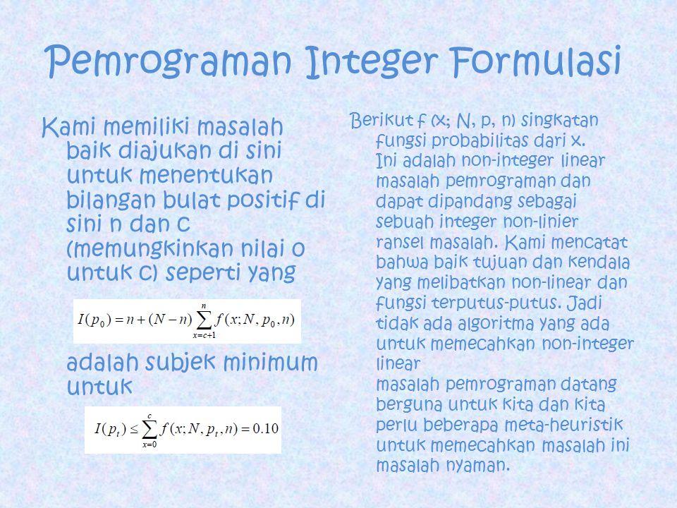 Pemrograman Integer Formulasi Kami memiliki masalah baik diajukan di sini untuk menentukan bilangan bulat positif di sini n dan c (memungkinkan nilai