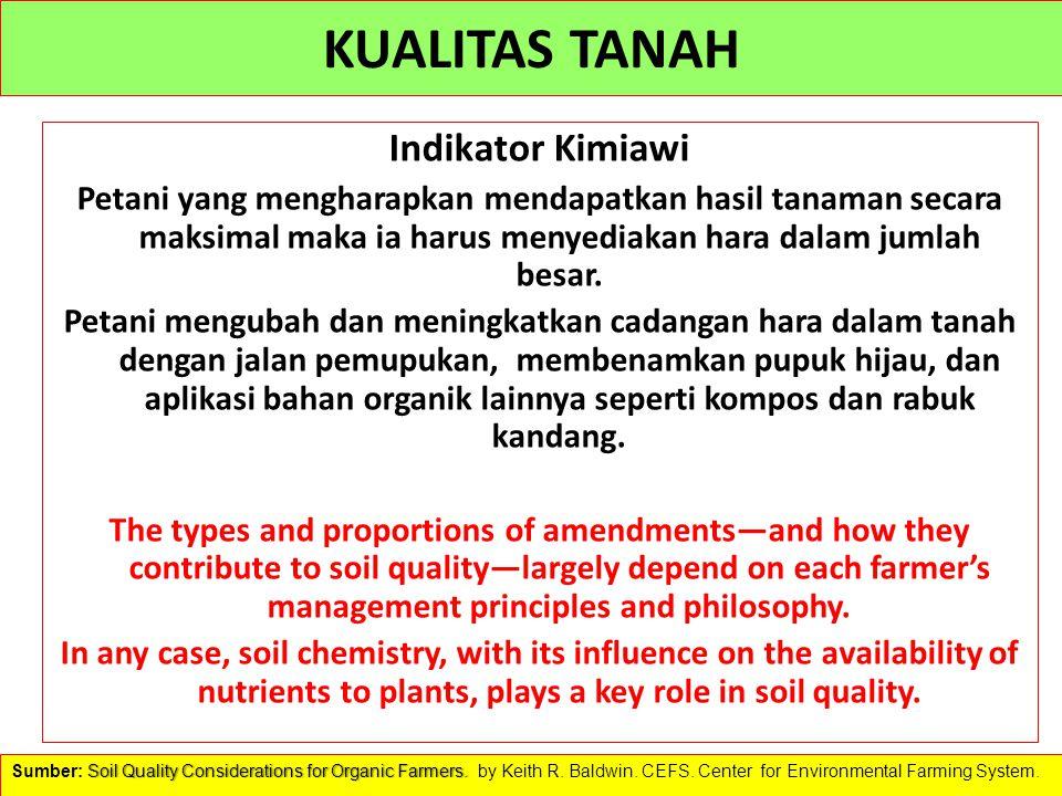 KUALITAS TANAH Indikator Kimiawi Petani yang mengharapkan mendapatkan hasil tanaman secara maksimal maka ia harus menyediakan hara dalam jumlah besar.