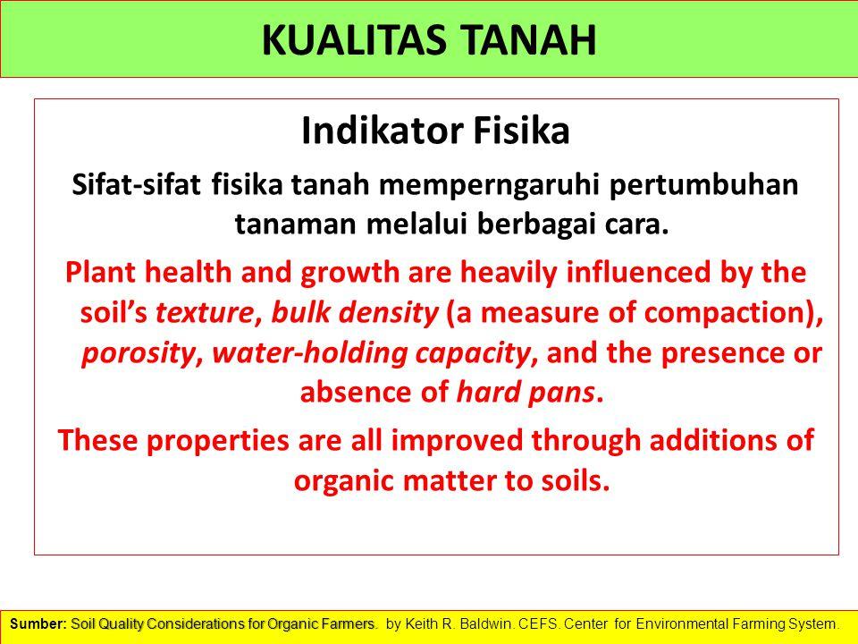 KUALITAS TANAH Indikator Fisika Sifat-sifat fisika tanah memperngaruhi pertumbuhan tanaman melalui berbagai cara. Plant health and growth are heavily