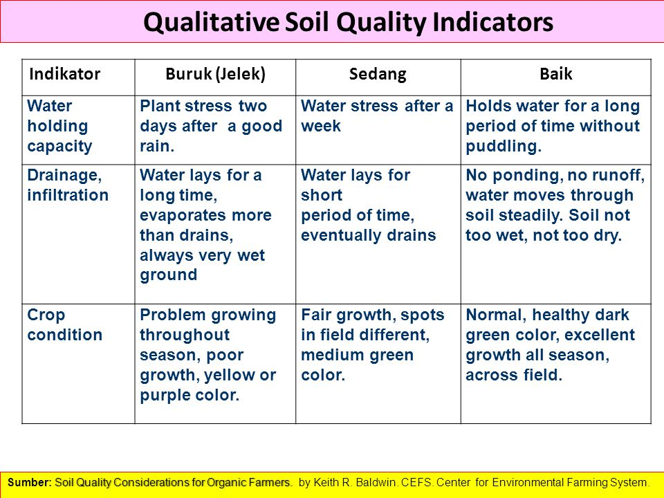 Qualitative Soil Quality Indicators Soil Quality Considerations for Organic Farmers. Sumber: Soil Quality Considerations for Organic Farmers. by Keith