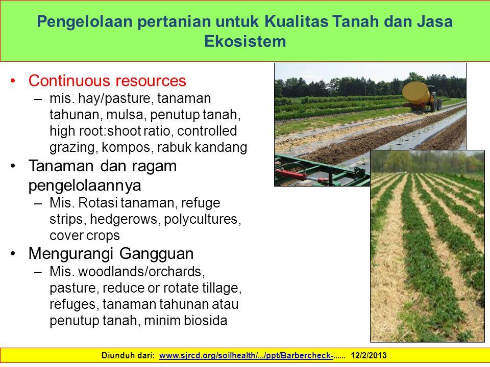 Pengelolaan pertanian untuk Kualitas Tanah dan Jasa Ekosistem Continuous resources –mis. hay/pasture, tanaman tahunan, mulsa, penutup tanah, high root