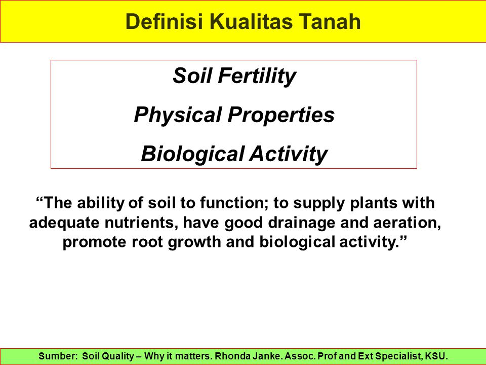 "Definisi Kualitas Tanah Soil Fertility Physical Properties Biological Activity ""The ability of soil to function; to supply plants with adequate nutrie"