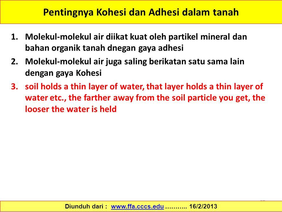 57 Pentingnya Kohesi dan Adhesi dalam tanah 1.Molekul-molekul air diikat kuat oleh partikel mineral dan bahan organik tanah dnegan gaya adhesi 2.Molek
