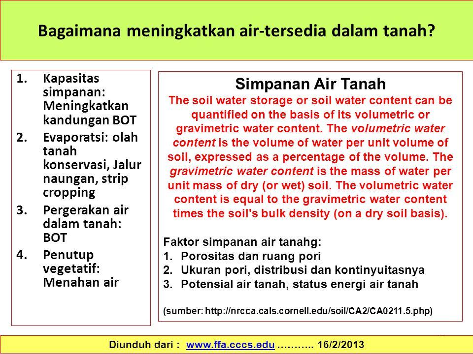 68 Bagaimana meningkatkan air-tersedia dalam tanah? 1.Kapasitas simpanan: Meningkatkan kandungan BOT 2.Evaporatsi: olah tanah konservasi, Jalur naunga