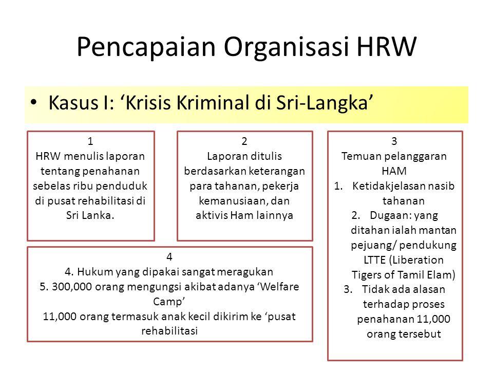 Pencapaian Organisasi HRW Kasus I: 'Krisis Kriminal di Sri-Langka' 1 HRW menulis laporan tentang penahanan sebelas ribu penduduk di pusat rehabilitasi