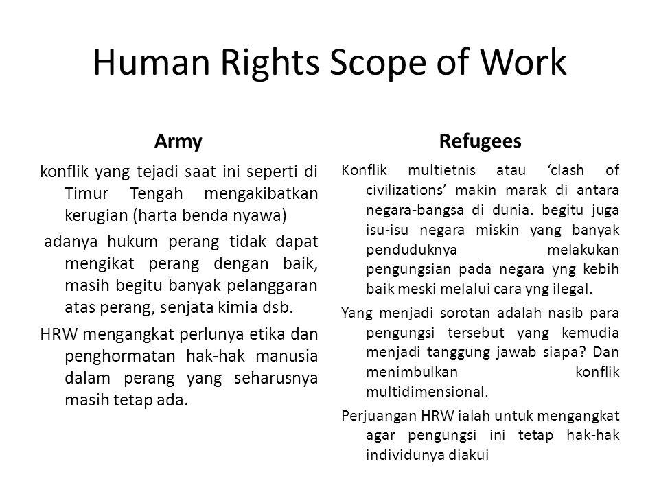 Human Rights Scope of Work Army konflik yang tejadi saat ini seperti di Timur Tengah mengakibatkan kerugian (harta benda nyawa) adanya hukum perang ti