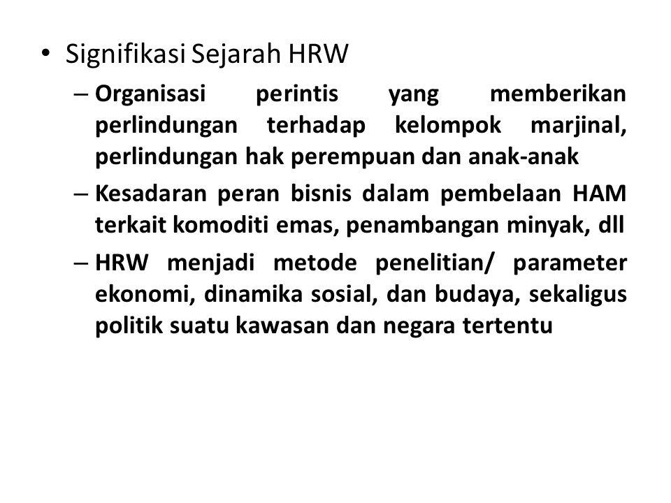 Signifikasi Sejarah HRW – Organisasi perintis yang memberikan perlindungan terhadap kelompok marjinal, perlindungan hak perempuan dan anak-anak – Kesa