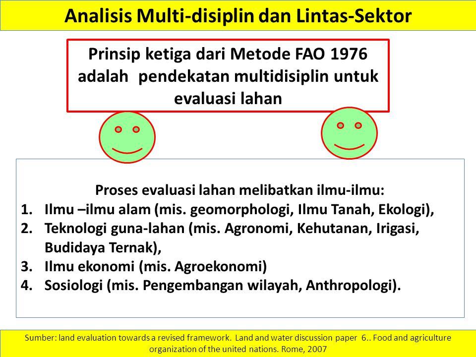 Analisis Multi-disiplin dan Lintas-Sektor Proses evaluasi lahan melibatkan ilmu-ilmu: 1.Ilmu –ilmu alam (mis. geomorphologi, Ilmu Tanah, Ekologi), 2.T