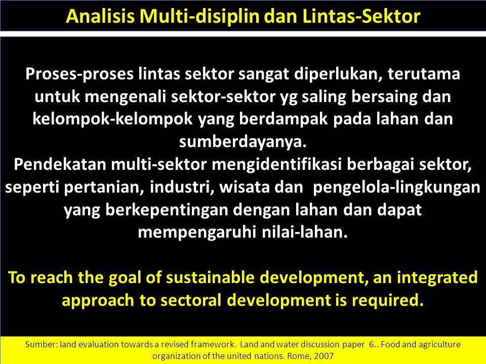Proses-proses lintas sektor sangat diperlukan, terutama untuk mengenali sektor-sektor yg saling bersaing dan kelompok-kelompok yang berdampak pada lah