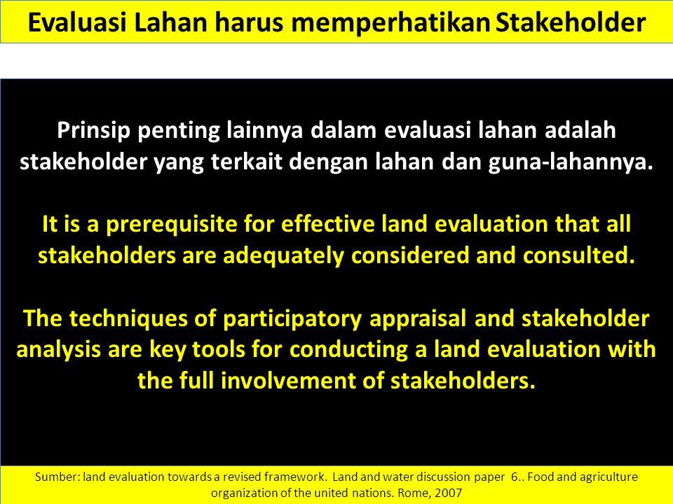 Evaluasi Lahan harus memperhatikan Stakeholder Prinsip penting lainnya dalam evaluasi lahan adalah stakeholder yang terkait dengan lahan dan guna-laha