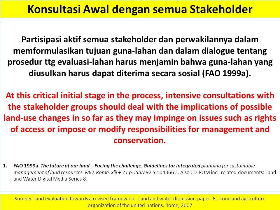 Konsultasi Awal dengan semua Stakeholder Partisipasi aktif semua stakeholder dan perwakilannya dalam memformulasikan tujuan guna-lahan dan dalam dialo