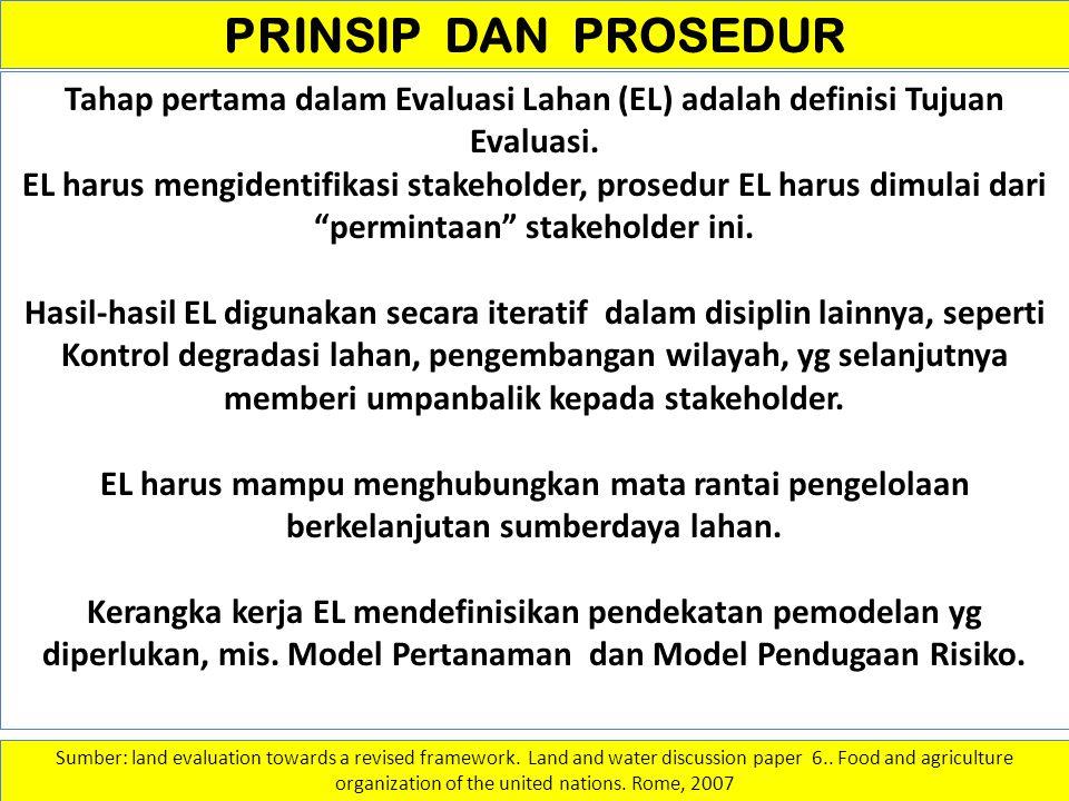 PRINSIP DAN PROSEDUR Tahap pertama dalam Evaluasi Lahan (EL) adalah definisi Tujuan Evaluasi. EL harus mengidentifikasi stakeholder, prosedur EL harus
