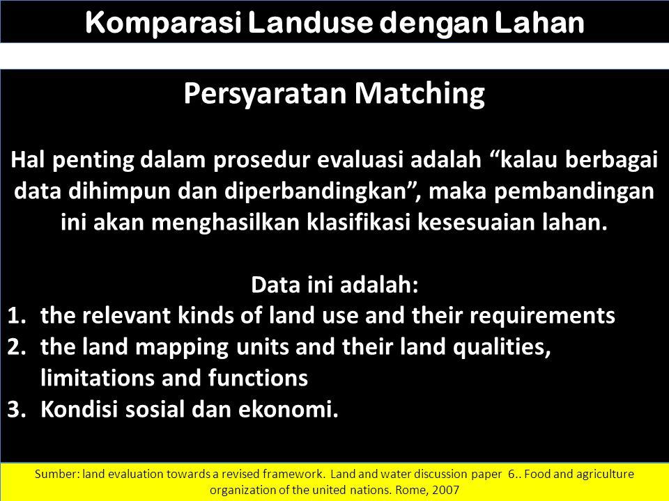 "Komparasi Landuse dengan Lahan Persyaratan Matching Hal penting dalam prosedur evaluasi adalah ""kalau berbagai data dihimpun dan diperbandingkan"", mak"
