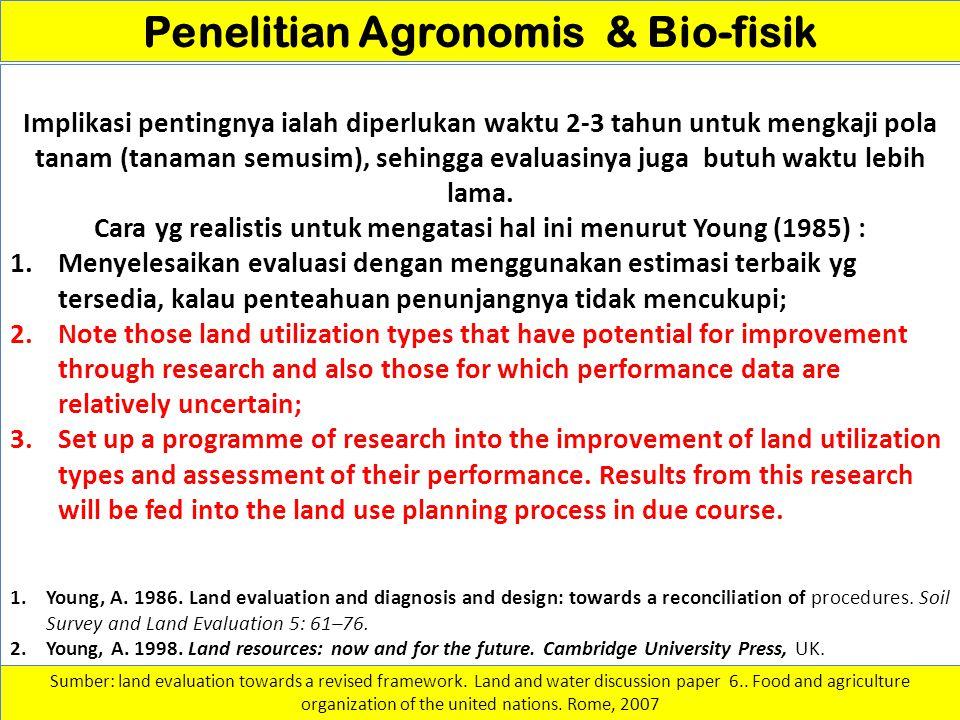 Penelitian Agronomis & Bio-fisik Implikasi pentingnya ialah diperlukan waktu 2-3 tahun untuk mengkaji pola tanam (tanaman semusim), sehingga evaluasin