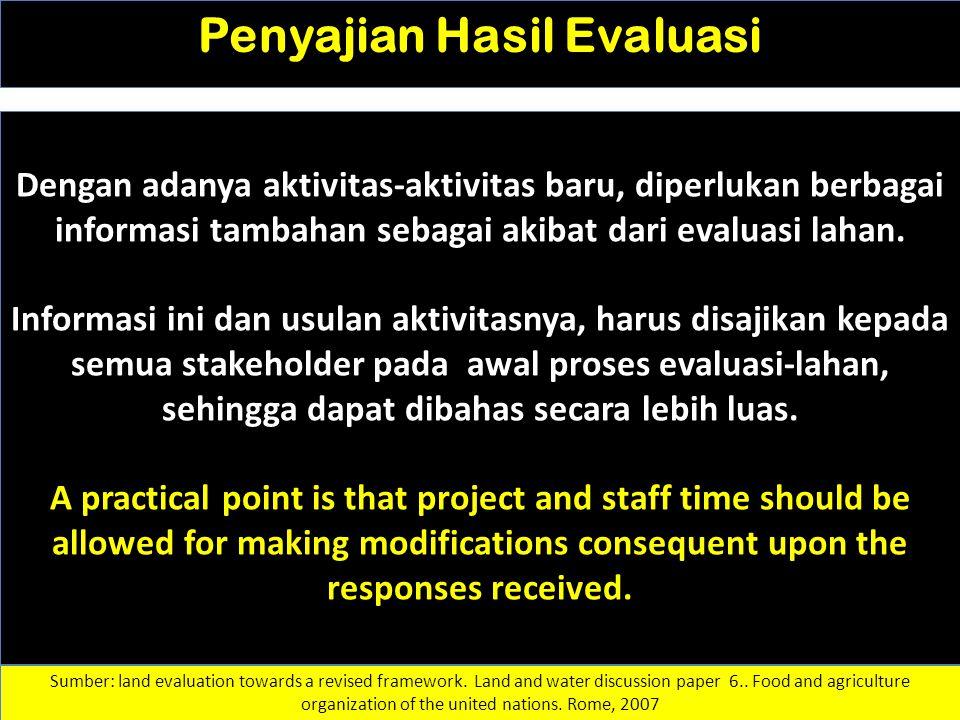 Penyajian Hasil Evaluasi Dengan adanya aktivitas-aktivitas baru, diperlukan berbagai informasi tambahan sebagai akibat dari evaluasi lahan. Informasi