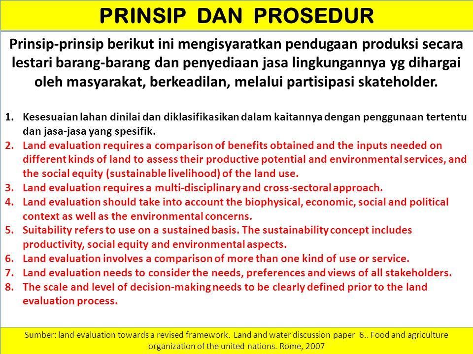 Kesesuaian Lahan - Manfaat & Jasa Lahan Prinsip pertama dari Kerangka-kerja 1976 ini menentukan bahwa kesesuaian lahan harus dinilai dan diklasifikasikan dalam kaitannya dengan penggunaan tertentu.