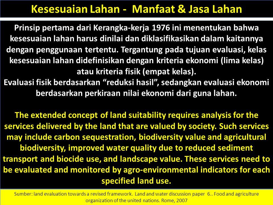 Kesesuaian Lahan - Manfaat & Jasa Lahan Prinsip pertama dari Kerangka-kerja 1976 ini menentukan bahwa kesesuaian lahan harus dinilai dan diklasifikasi