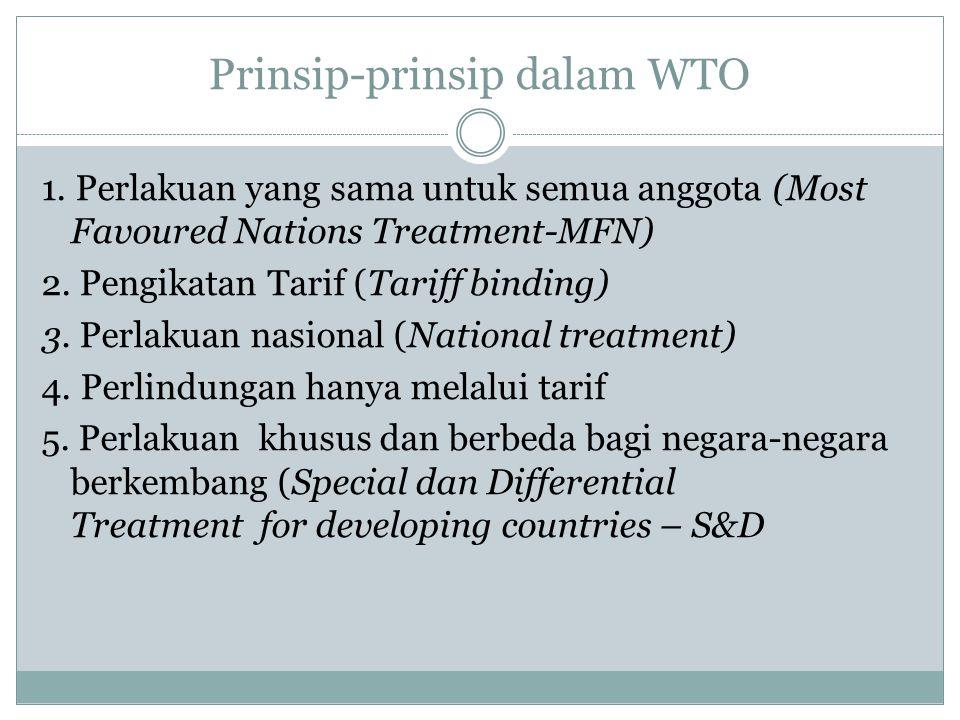 Prinsip-prinsip dalam WTO 1. Perlakuan yang sama untuk semua anggota (Most Favoured Nations Treatment-MFN) 2. Pengikatan Tarif (Tariff binding) 3. Per