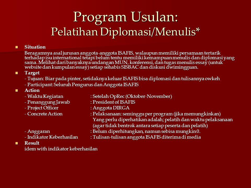 Program Usulan: Pelatihan Diplomasi/Menulis* Situation Situation Beragamnya asal jurusan anggota-anggota ISAFIS, walaupun memiliki persamaan tertarik