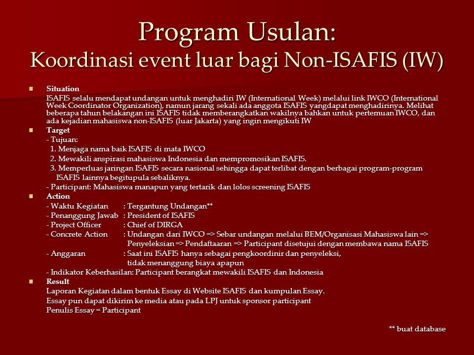Program Usulan: Koordinasi event luar bagi Non-ISAFIS (IW) Situation Situation ISAFIS selalu mendapat undangan untuk menghadiri IW (International Week