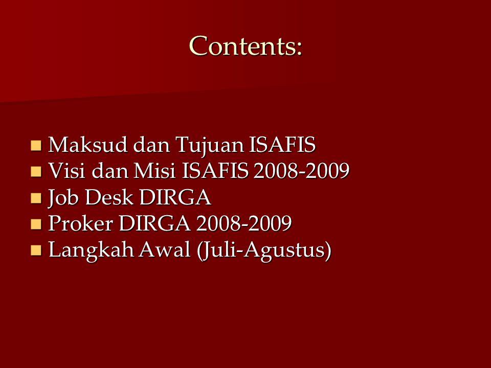 Contents: Maksud dan Tujuan ISAFIS Maksud dan Tujuan ISAFIS Visi dan Misi ISAFIS 2008-2009 Visi dan Misi ISAFIS 2008-2009 Job Desk DIRGA Job Desk DIRG
