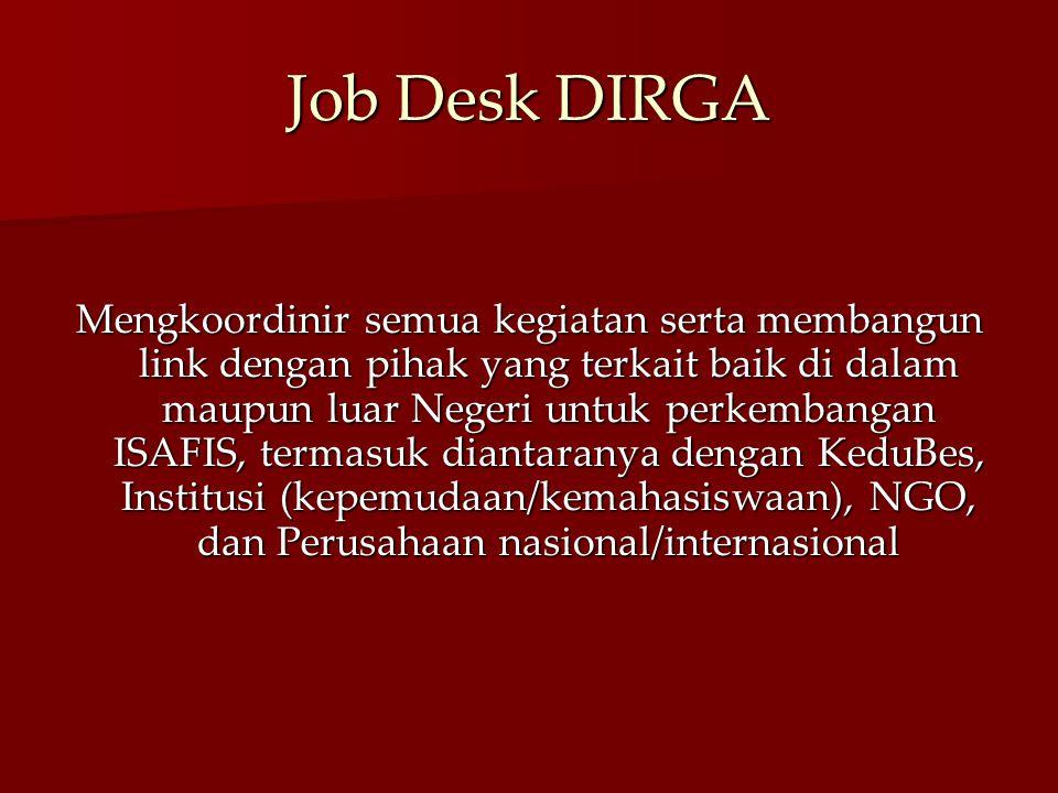 Job Desk DIRGA Mengkoordinir semua kegiatan serta membangun link dengan pihak yang terkait baik di dalam maupun luar Negeri untuk perkembangan ISAFIS,