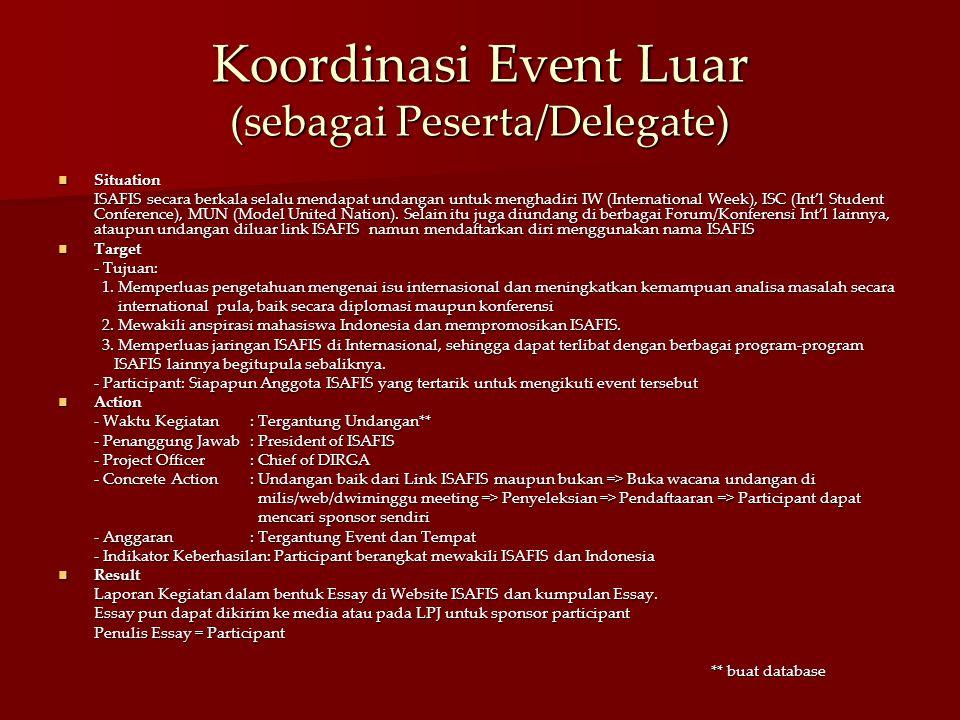 Koordinasi Event Luar (sebagai Peserta/Delegate) Situation Situation ISAFIS secara berkala selalu mendapat undangan untuk menghadiri IW (International