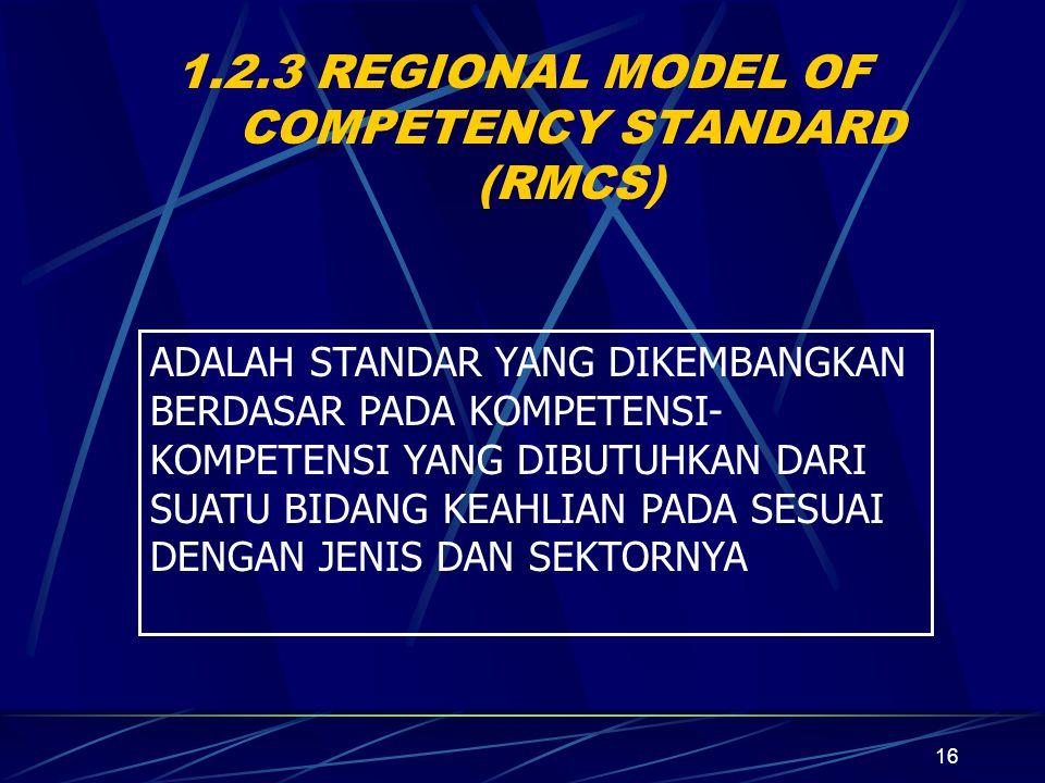 16 1.2.3 REGIONAL MODEL OF COMPETENCY STANDARD (RMCS) ADALAH STANDAR YANG DIKEMBANGKAN BERDASAR PADA KOMPETENSI- KOMPETENSI YANG DIBUTUHKAN DARI SUATU BIDANG KEAHLIAN PADA SESUAI DENGAN JENIS DAN SEKTORNYA
