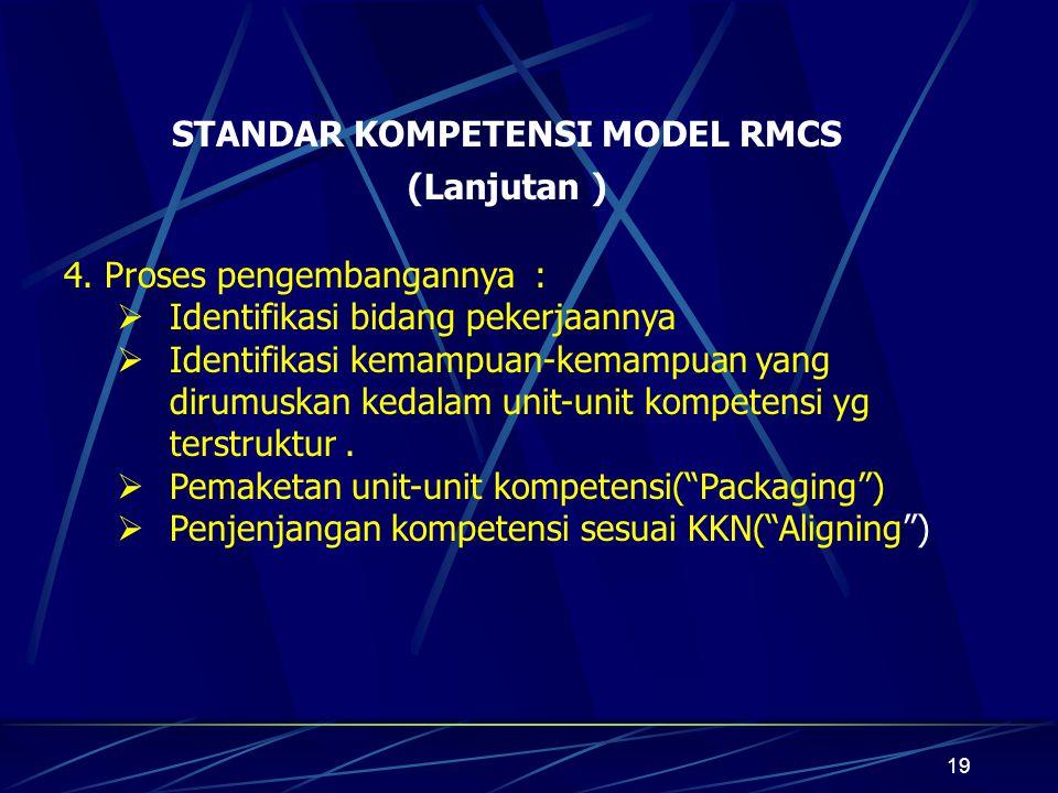 19 STANDAR KOMPETENSI MODEL RMCS 4.