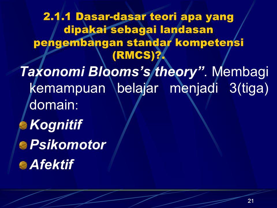 21 2.1.1 Dasar-dasar teori apa yang dipakai sebagai landasan pengembangan standar kompetensi (RMCS)?.