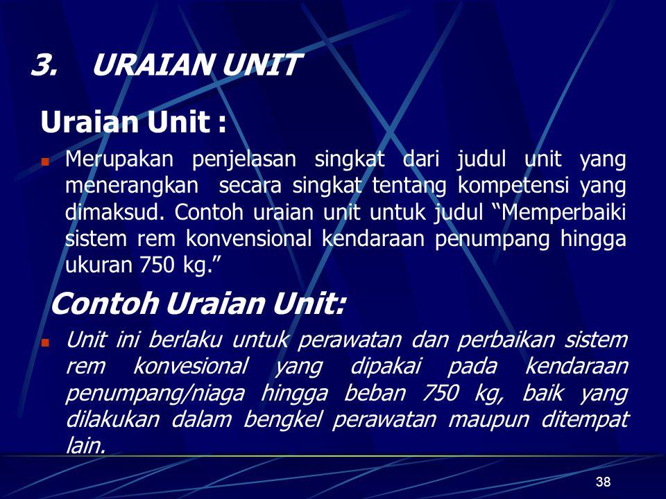 38 3.URAIAN UNIT Uraian Unit : Merupakan penjelasan singkat dari judul unit yang menerangkan secara singkat tentang kompetensi yang dimaksud.