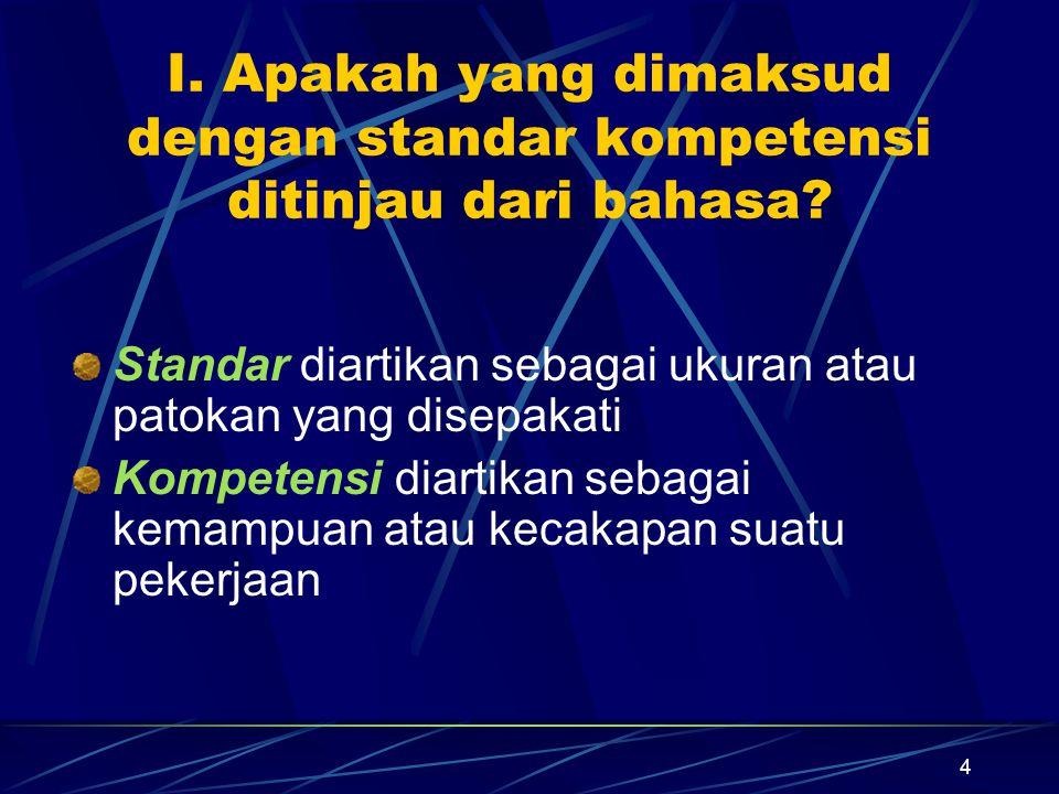 4 I.Apakah yang dimaksud dengan standar kompetensi ditinjau dari bahasa.