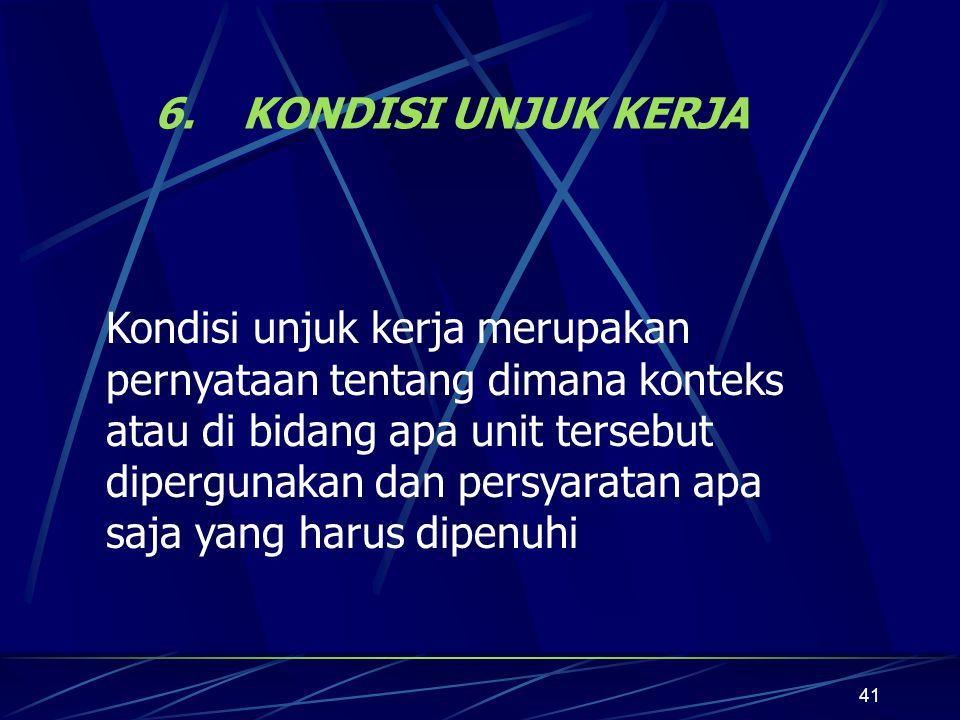 41 6.KONDISI UNJUK KERJA Kondisi unjuk kerja merupakan pernyataan tentang dimana konteks atau di bidang apa unit tersebut dipergunakan dan persyaratan apa saja yang harus dipenuhi