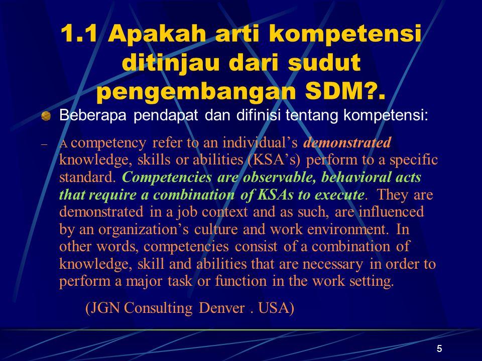 5 1.1 Apakah arti kompetensi ditinjau dari sudut pengembangan SDM?.