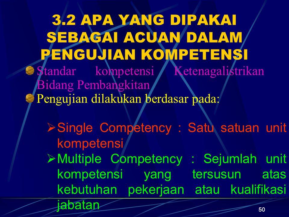50 3.2 APA YANG DIPAKAI SEBAGAI ACUAN DALAM PENGUJIAN KOMPETENSI Standar kompetensi Ketenagalistrikan Bidang Pembangkitan Pengujian dilakukan berdasar pada: SSingle Competency : Satu satuan unit kompetensi MMultiple Competency : Sejumlah unit kompetensi yang tersusun atas kebutuhan pekerjaan atau kualifikasi jabatan