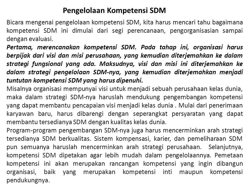Bicara mengenai pengelolaan kompetensi SDM, kita harus mencari tahu bagaimana kompetensi SDM ini dimulai dari segi perencanaan, pengorganisasian sampai dengan evaluasi.