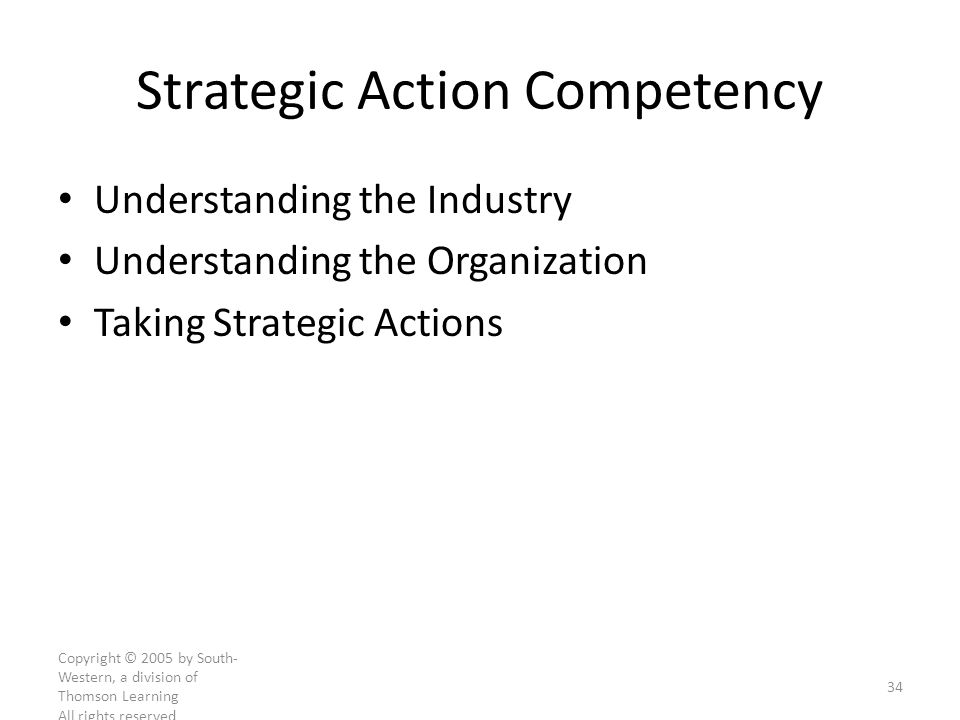 Copyright © 2005 by South- Western, a division of Thomson Learning All rights reserved 34 Strategic Action Competency Understanding the Industry Understanding the Organization Taking Strategic Actions